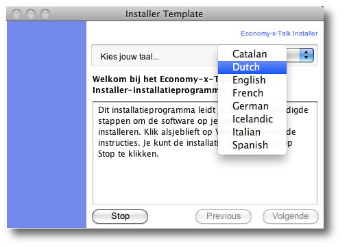 Language Settings in Installer Window