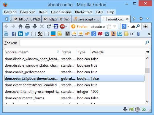 Go to the url about:config and scroll down till dom.event.clipboardevents.enabled.